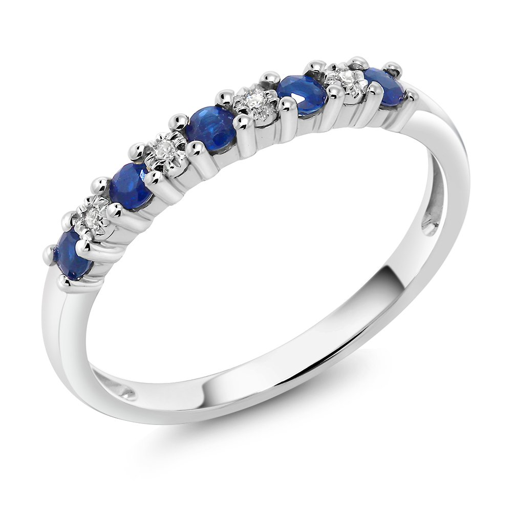 18K Solid White Gold 0.22 cttw Sapphire & White Diamond Anniversary Wedding Band (Ring Size 7)
