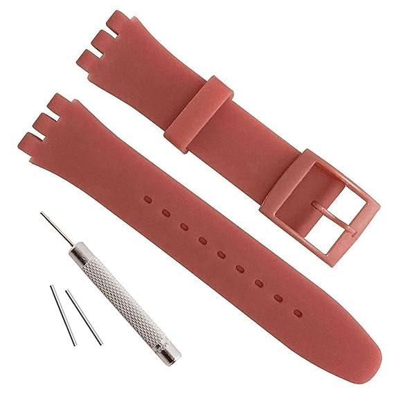 Correa de repuesto de silicona para reloj, resistente al agua, 17 mm, 19 mm y 20 mm
