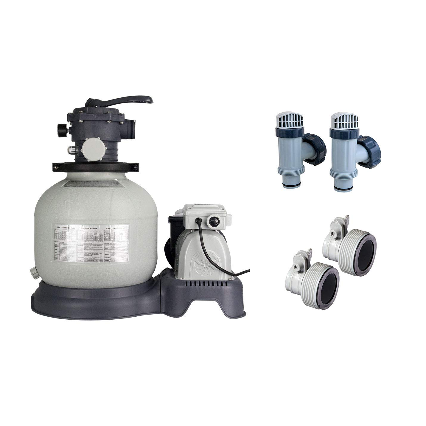 Intex Krystal Clear 2800 GPH Pool Sand Filter Pump + Valves & Adapter B Hoses