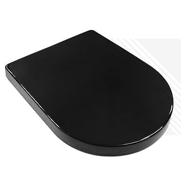D Shape Bathroom Soft Close Black Toilet Seat Adjustable Top