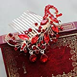 Generic Retro styl studio bridal headdress red bridal hair comb inserted comb crown tiara tiara frontlet marriage headdress - send earring