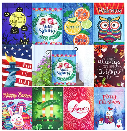 "10 DOUBLE SIDED Seasonal Holiday Garden Flags Set 12"" x 18"""