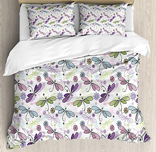 BedBed UP Dragonfly 3 Pieces Twin Bedding Sets, Home Comforter Duvet Quilt Cover Sets, 2 Decorative Pillowcases, Bedspread for Childrens/Kids/Teens/Adults(Abstract Bugs with Ethnic Hippie Style Sket)