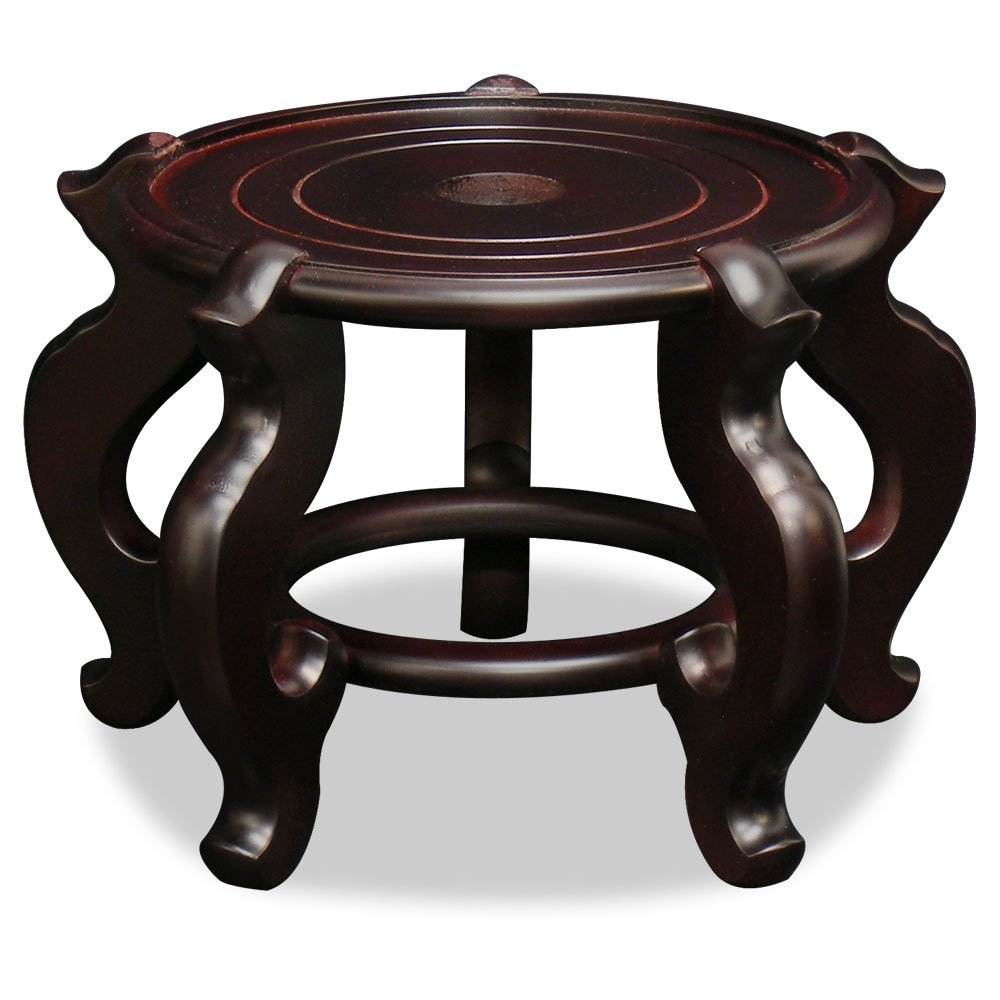 ChinaFurnitureOnline Chinese Wooden Stand, 8.5 Inches Round Fishbowl Planter Display Pedestal
