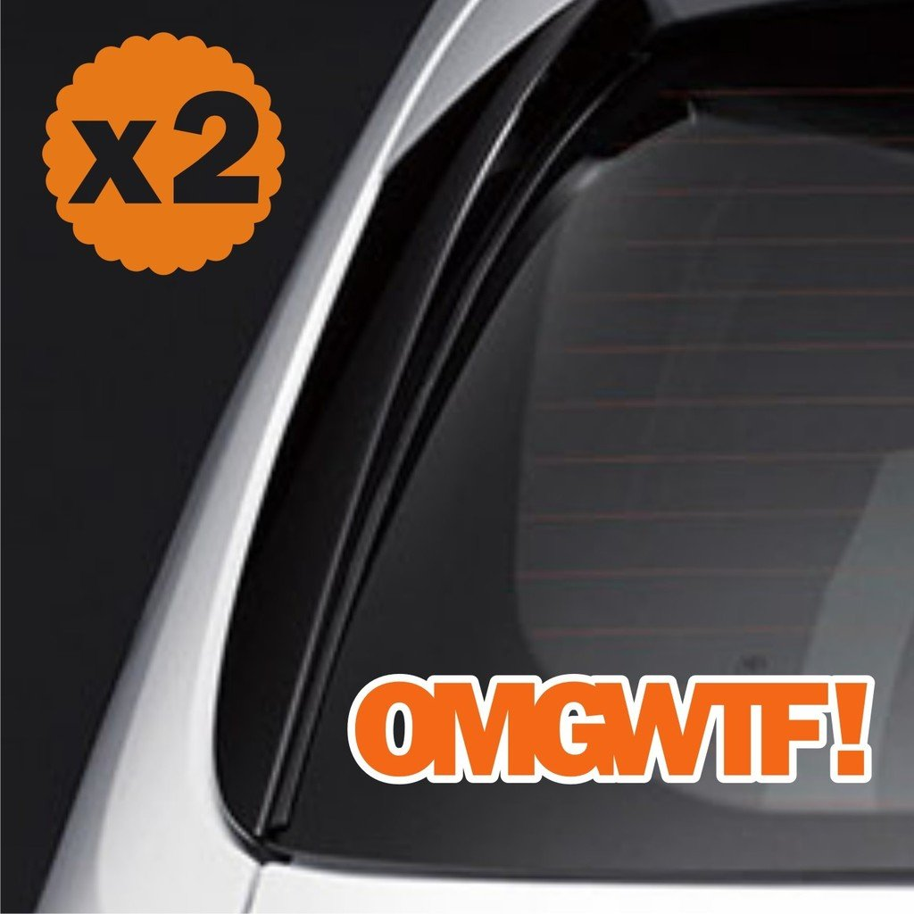 2x omgwtf sticker decal white orange jdm euro japan wakaba shoshinsha racing drive drift stance lower drag boost amazon co uk car motorbike