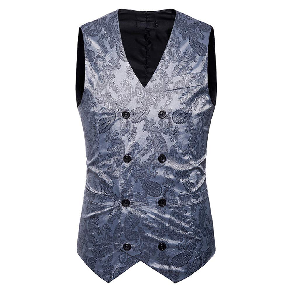 4cbffbe6f4b49 MODOQO Mens Suit Vest Double Breasted Slim Fit Retro Tuxedo Dress Waistcoat  MODOQO-Men