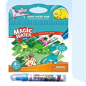 MIYUE Water Reveal Pad Paint Pens Set for Toddlers, Paint with Water Books for Toddlers, Magic Water Wow Coloring Books Dinosaur Water Reveal Pad Paint Book for Boys & Girls Toddlers