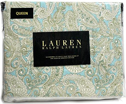 Ralph Lauren Queen Pastel Paisley Sateen Cotton 4-piece Sheet Set Sage Green Turquoise (Queen) (Pottery Pillow Barn Covers)