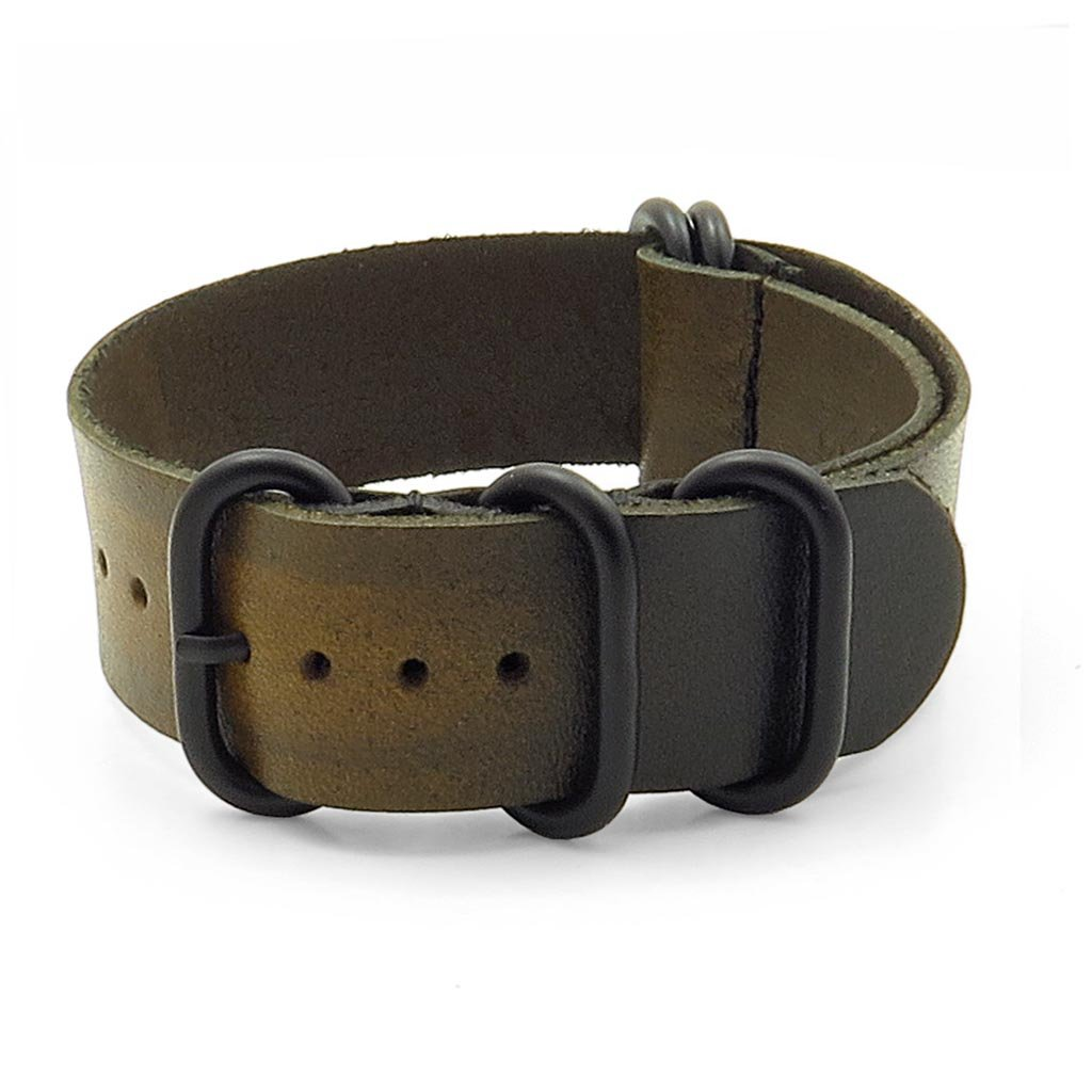 StrapsCo バーントフェイド ビンテージスタイル レザーNatoベルト 時計バンド マットブラックのリング付き 22mm グリーン 22mm|グリーン グリーン 22mm B016NOW2ES