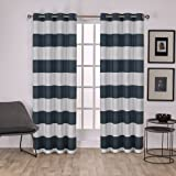 "Exclusive Home Surfside Cotton Cabana Stripe Grommet Top Window Curtain Panels (Set of 2), 54 x 84"", Indigo"