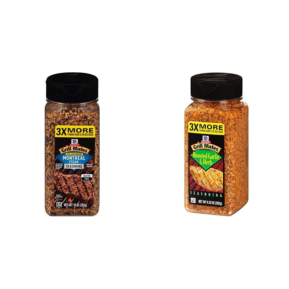 McCormick Grill Mates 25% Less Sodium Montreal Steak Seasoning, 10 oz & Roasted Garlic & Herb Seasoning, 9.25 Ounce (Pack of 1)