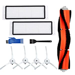 Jorllina Accessories Kit Compatible with Roborock S5 E20 E25 E35 C10 S50 Xiaomi Mi Mijia Robotic Vacuum Cleaner Replacement Parts - 1 Main Brush+ 2 Filters+ 4 Side Brushes