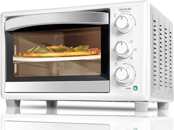 Cecotec Horno sobremesa con piedra para pizza Bake&Toast 610 4Pizza. 1500 W, Horno eléctrico multifunción de sobremesa, Cocina por convección, Luz ...