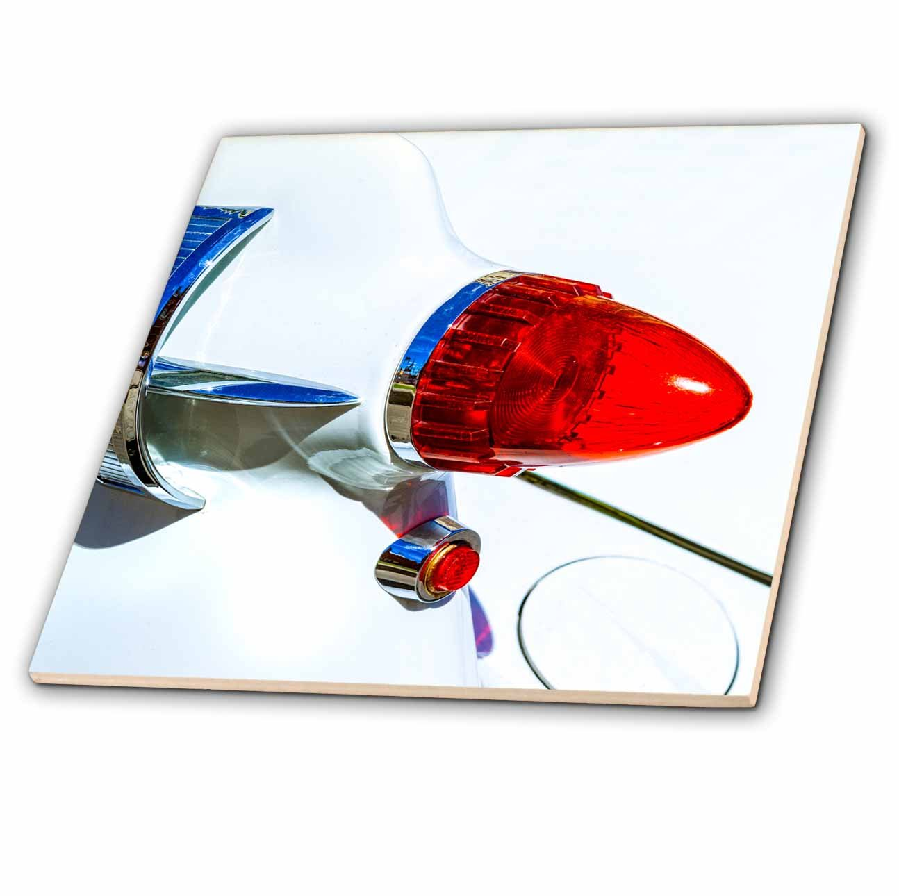 3dRose Alexis Photography - Transport Road - Red rear light, white hood of a vintage luxury car - 6 Inch Glass Tile (ct_271952_6)