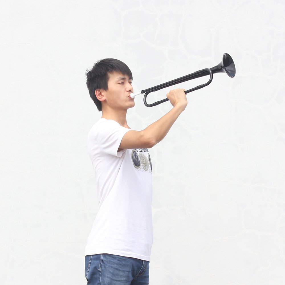 ammoon Bugle B Flat Trumpet with Mouthpiece for Band School Student (Black) by ammoon (Image #5)