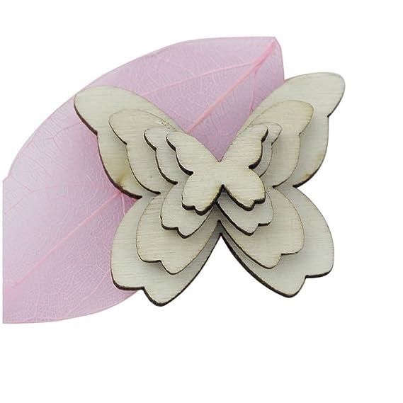 50pcs DIY Set Schmetterling Holz Scrapbooking Deko Verschönerung Scrapbook DE