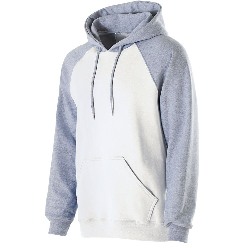 Holloway Youth Banner Hoodie (Small, White/Athletic Heather) by Holloway