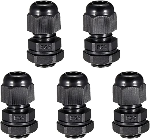 uxcell 10Pcs PG7 Cable Gland Waterproof Plastic Joint Adjustable Locknut on 3-6.5mm Dia Cable Wire