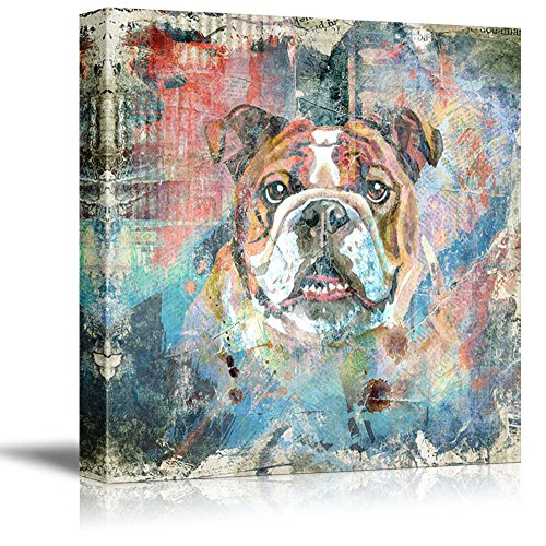 Square Dog Series Colorful Painting of a Dog with Grunge Background