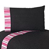 3pc Twin Sheet Set for Pink and Black Madison Bedding Collection by Sweet Jojo Designs