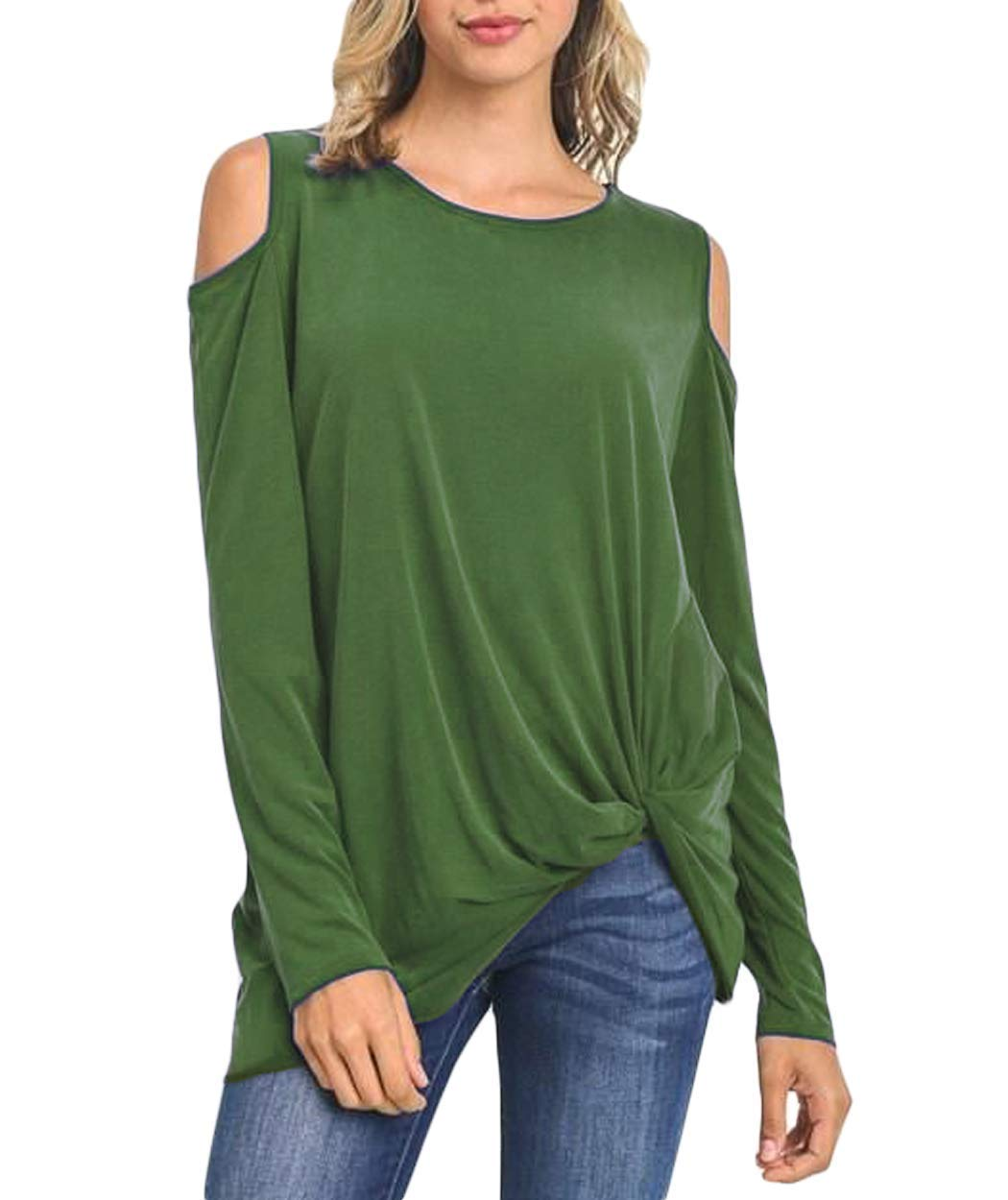 Eanklosco Women's Off Shoulder Tops Cold Shoulder T Shirts Cut Out Blouses Knot Front Long Sleeve Army Green S/UK 8