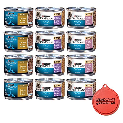 Purina Bundle Pro Plan Focus Canned Cat/Kitten Food Variety Pack Box - 3 Flavors, 3-Ounce Cans (12 Total Cans - 4 of Each Flavor) with Can Topper