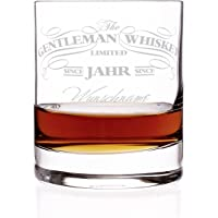 Privatglas Whiskey Glas - Gentleman Whiskey Design - Gratis Gravur Name u. Geburtsjahr