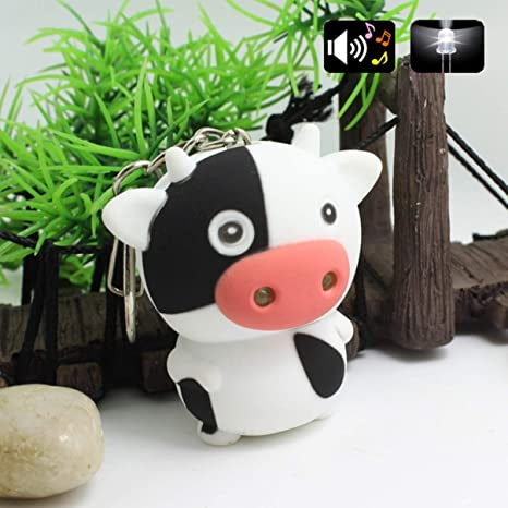 Practical Little Cow Animal LED Keychain with Sound Mini Torch Flashlight Toy