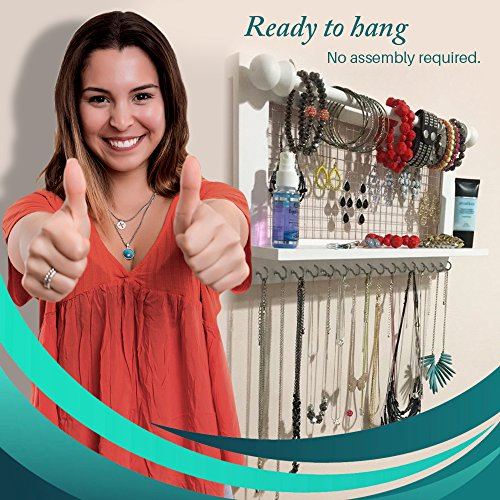 Hanging Jewelry Organizer | Wall Mounted Wooden Holder for Necklace, Earrings, Bracelets, Rings & Other Accessories | With Hooks, Shelf, Wire Grid & Removable Bar | 17.5'' x 10'' Size | White by Jewelry Display (Image #3)