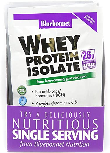 Bluebonnet Nutrition Whey Protein Isolate Powder, Whey From Grass Fed Cows, 26g of Protein, No Sugar Added, Non GMO, Gluten Free, Soy free, kosher Dairy, 8Count, 8 Servings, Original Unflavored