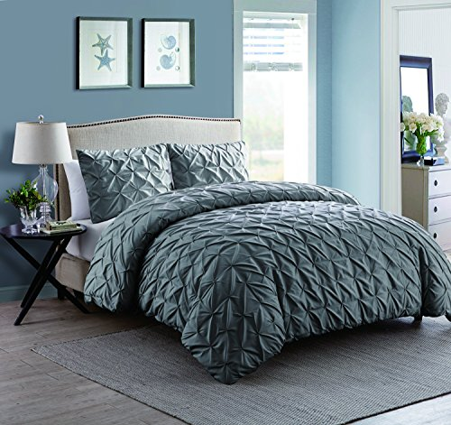 King Size Removable Duvet Cover Set in Charcoal Grey Supreme Pinched Pleating