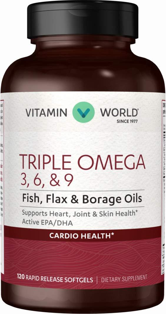 Vitamin World Triple Omega 3-6-9, Fish, Flax and Borage Oils, Active EPA DHA, Heart Health, Cardio Support, Fatty Acids, Rapid-Release, Non-GMO, Gluten Free