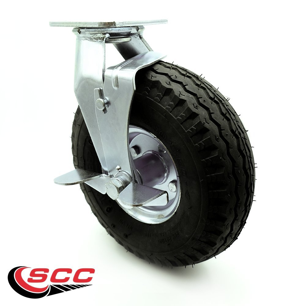 Black Rubber Wheel Service Caster Brand Capacity 6 Pneumatic Caster Set of 4-2 Swivel with Brakes//2 Rigid 1,000 lbs