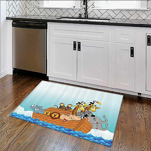 Easy Care Rug Cute Animals the Ark of Noah in the Sea Bible Mythical Li Fun Narrative Ideal Anti Slip Rug Pad W39