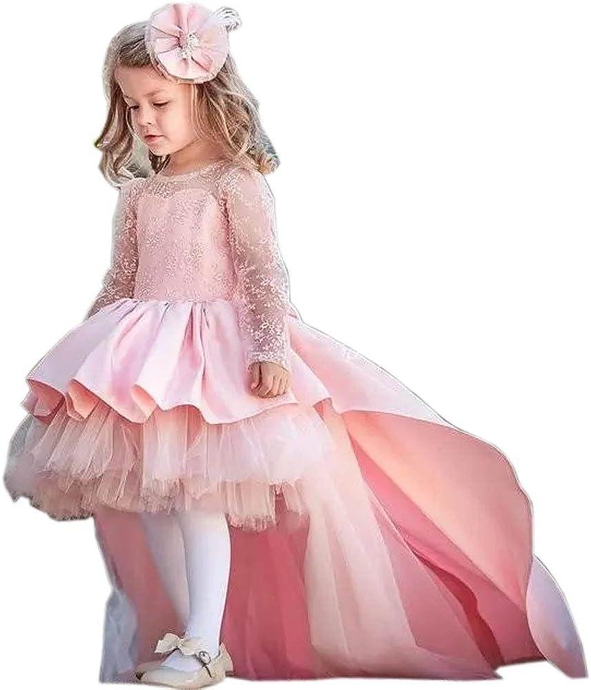 Ike Chimbandi Pink Hi-Lo Long Sleeve Little Girls Pageant Dresses Bow Tie Flower Girls Dress