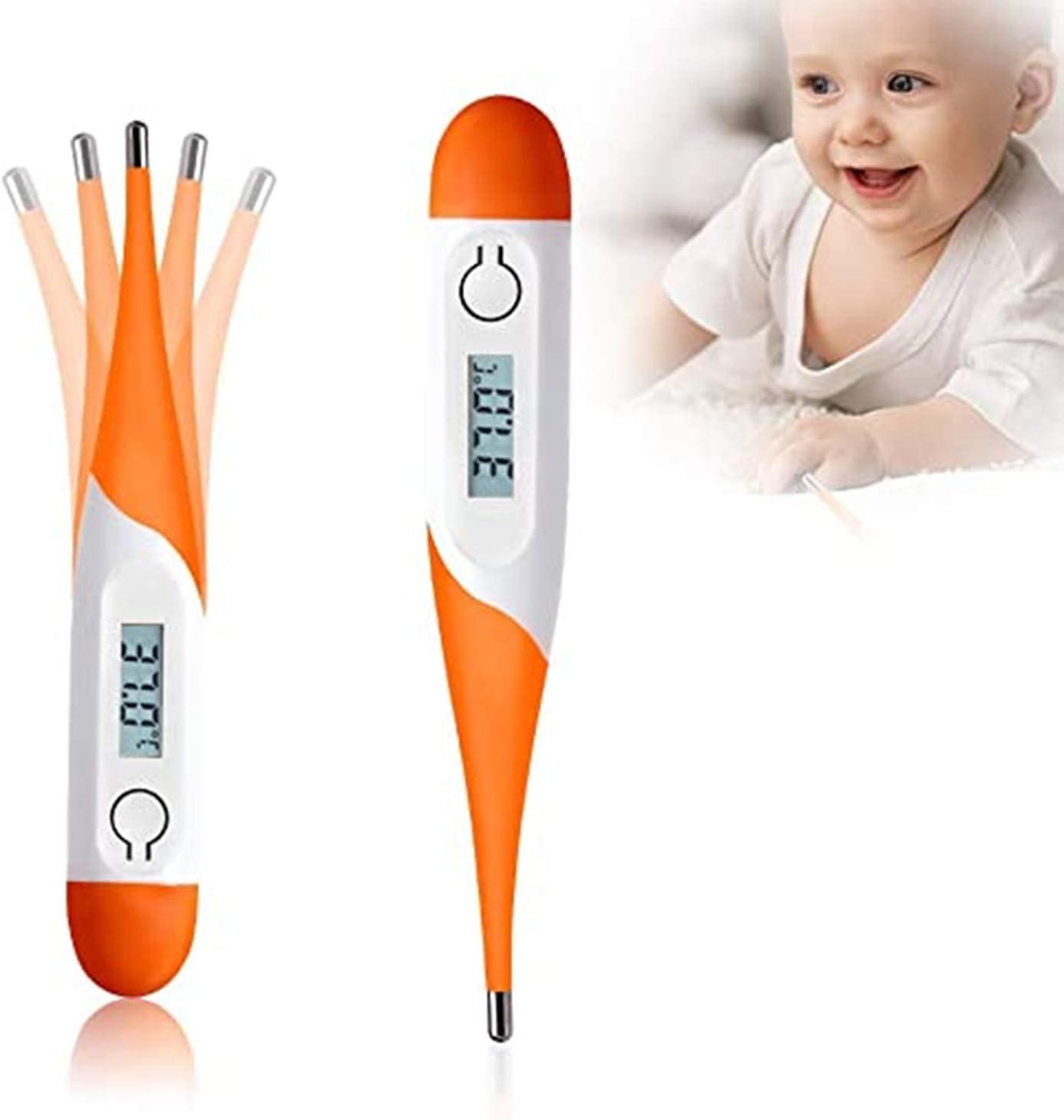 AOGUERBE Digitales Fieberthermometer,Schnell ablesbares LCD Digital K/örperthermometer mit weichem Kopf f/ür Babys Kinder und Erwachsene Axillar Oder Rektal Orange Oral