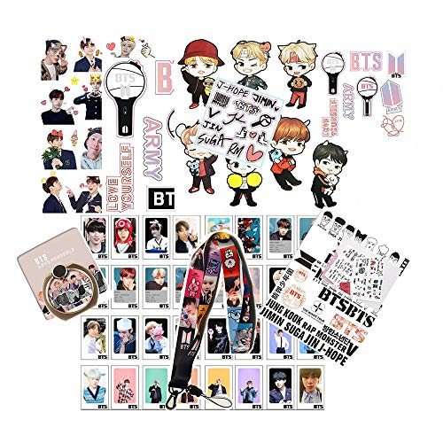 BTS Gifts Set for Army, 32PCS BTS Lomo Card + 1 BTS Phone Ring Holder + 4 BTS 3D Stickers + 1 BTS Lanyard + 3 BTS Tattoo Stickers + 1 Standing Sticker