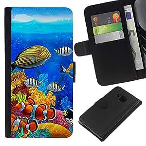 - OCEAN WATER DIVING BLUE TROPICAL FISH - - Prima caja de la PU billetera de cuero con ranuras para tarjetas, efectivo desmontable correa para l Funny House FOR HTC One M9