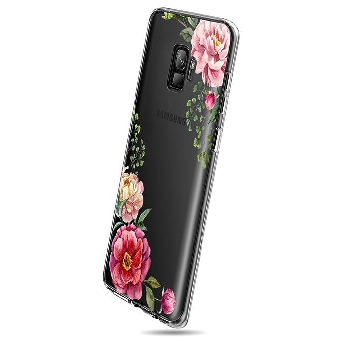 Funda Compatible con Galaxy S9 Carcasa Silicona Transparente Protector TPU Ultra-delgado Anti-Arañazos Flores de Primavera Case para Teléfono Galaxy ...