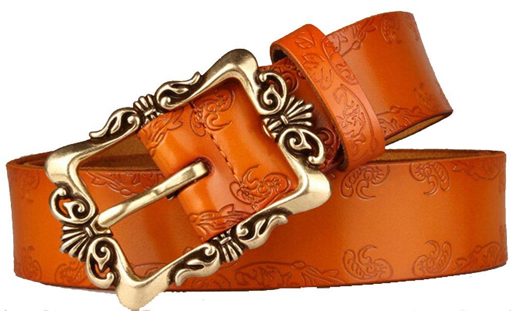 Orange Retro Leather Pin Buckle Belt Flower Print Designer Belt for Women