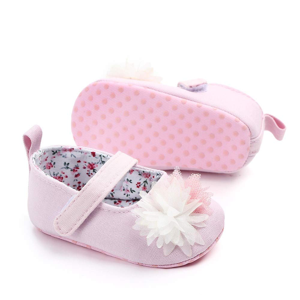 NUWFOR Newborn Baby Cute Girls Canvas Flower Single First Walker Soft Sole Shoes(Pink,12-15Months) by NUWFOR (Image #3)