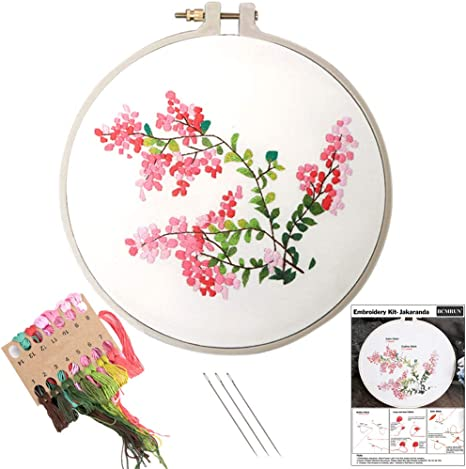 Handmade Embroidery Starter Kit with Floral Pattern Include Embroidery Hoop