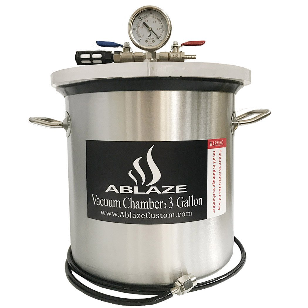 ABLAZE 3 Gallon Gal Vacuum Chamber Stainless Steel Degassing Urethanes Silicone Epoxies Lid Kit by Ablaze