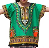 RaanPahMuang Unisex Bright Africa Colour Children Dashiki Cotton Shirt, 10-12 Years, Forest Green