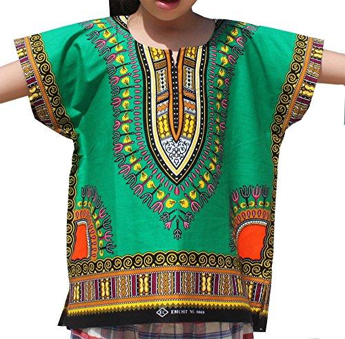 RaanPahMuang Unisex Bright Africa Colour Children Dashiki Cotton Shirt, 10-12 Years, Forest Green by RaanPahMuang