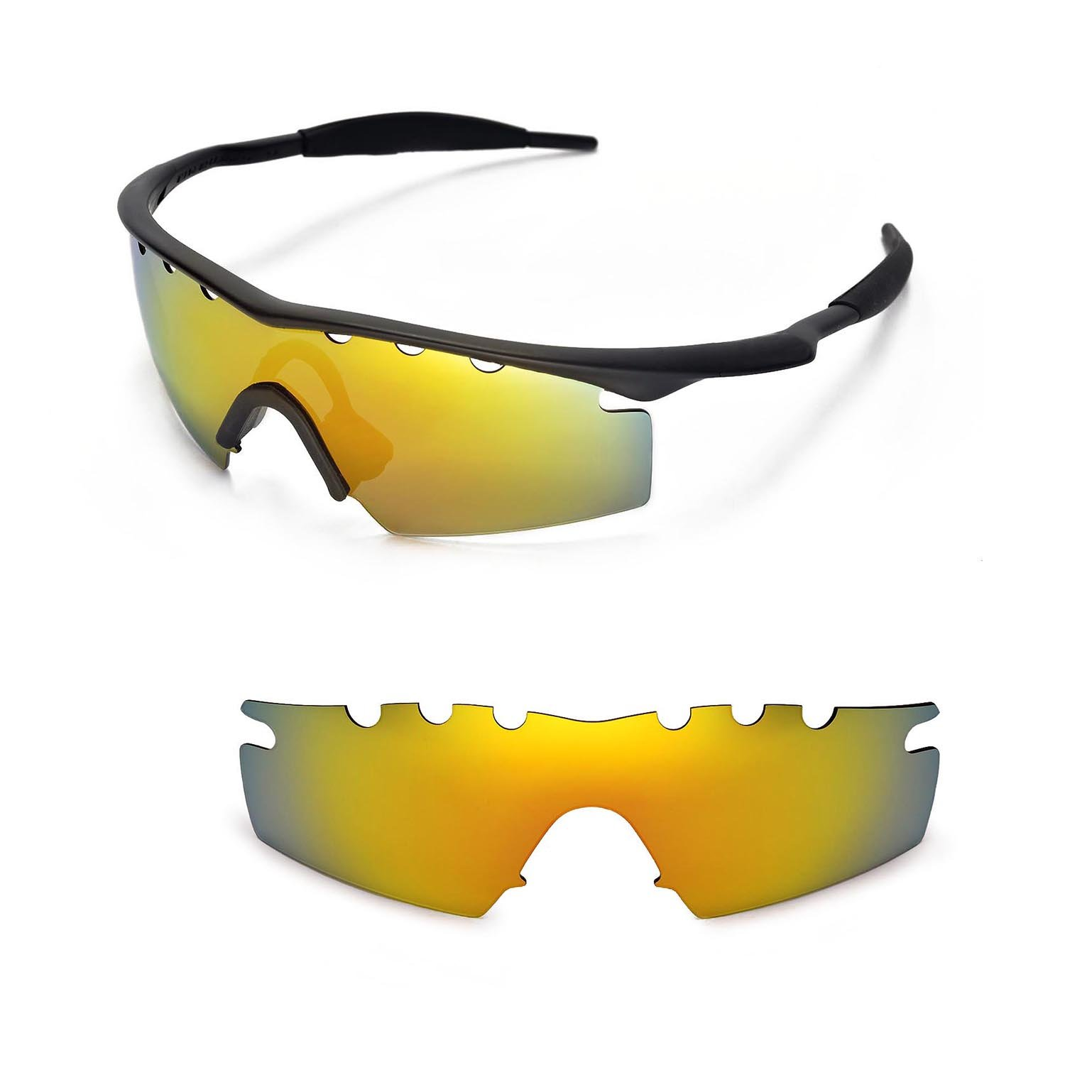b6ad556e1a6 Amazon.com   Walleva Vented Replacement Lenses for Oakley M Frame Strike  Sunglasses - Multiple Options Available (24K Gold - Polarized)   Sports    Outdoors
