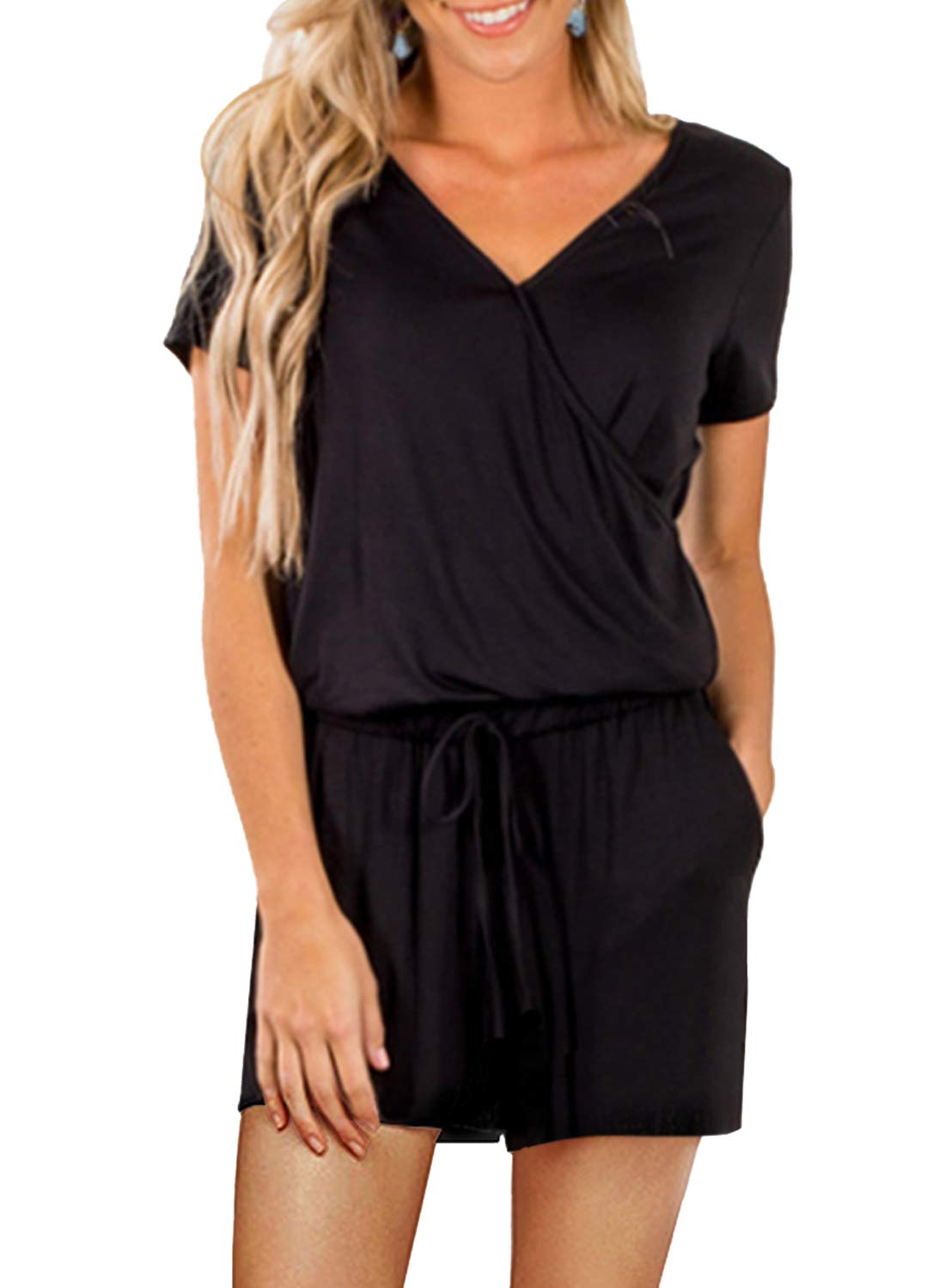Dearlove Womens Casual V Neck Short Sleeve Loose Wide Leg Elastic Waist Jumpsuit Rompers with Pockets Playsuit Solid Black Medium by Dearlove