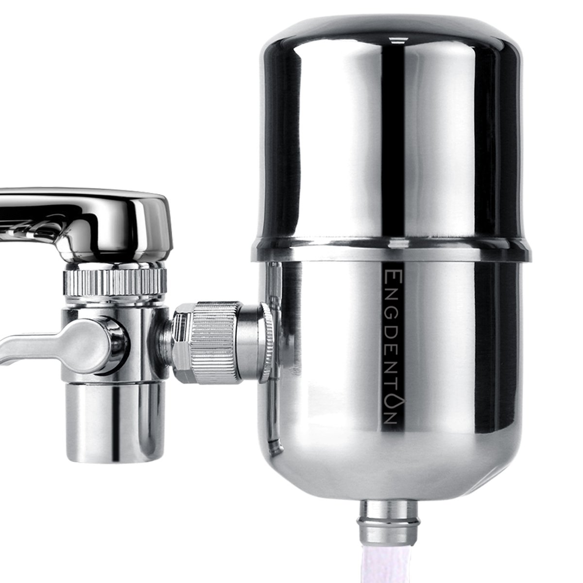 Engdenton Faucet Water Filter Stainless-Steel Reduce Chlorine High Water Flow, Water Purifier with Ultra Adsorptive Material, Water Filters for Faucets-Fits Standard Faucets