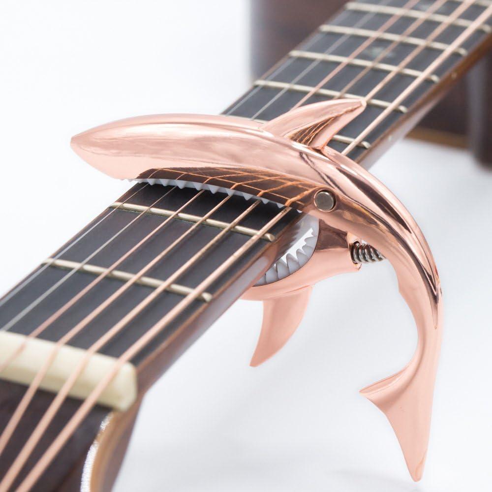 CLOUDMUSIC Shark Capo Acoustic Guitar Capo Electric Guitar Capo Classical Guitar Capo Ukulele Capo Zinc Alloy Spring Capo (Rose Golden)