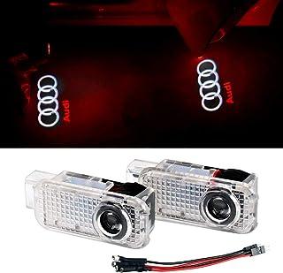 Oheealt Audi Car Accessories Door Logo Led Light Car Door Ghost Shadow Projector Welcome Lamp Symbol Emblem Step Courtesy Lights Ground Kit for for Audi A1 A3 A4 A5 A6 A7 A8 Q3 Q7 R8 TT(2 Pack)